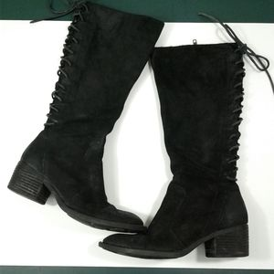 Born Azurite Back Lace Knee High Suede Boots